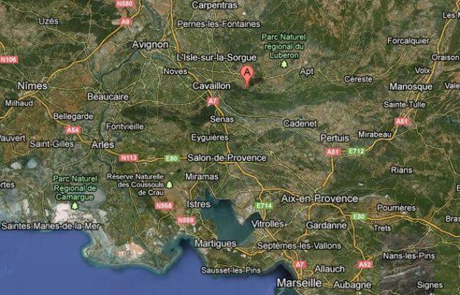Googlemap localisant Oppède, dans le Vaucluse.