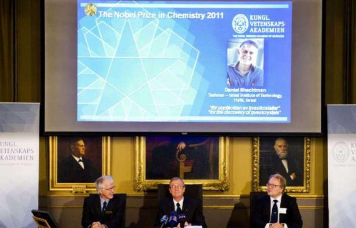 L'académie royale des sciences de Suède a décerné le prix Nobel de chimie à l'Isréalien Daniel Shechtman le 5 octobre 2011, pour sa découverte des quasicristaux. – SIPA/ AP Photo/ Scanpix/ Henrix Montgomery