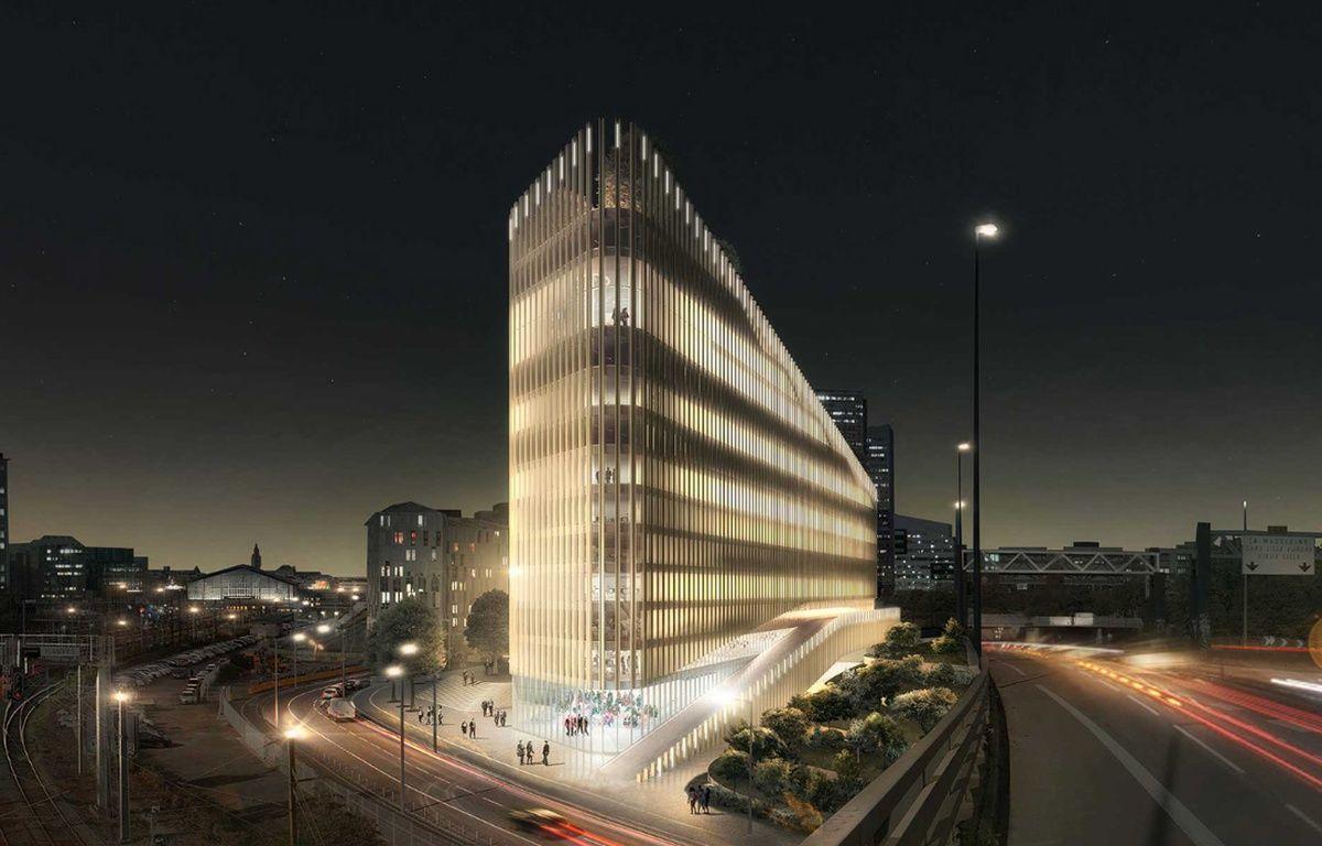 Le bâtiment ShAKe, à Euralille, vu depuis le périphérique Est (Lille-Flandres est au fond, à gauche) – Agence PCA/Stream