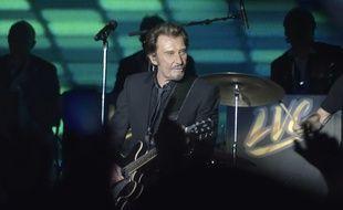 Johnny Hallyday lors d'un concert des Vieilles Canailles au au Palais Omnisports de Paris-Bercy.