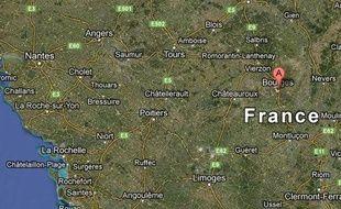 Google map de la ville de Levet (Cher).