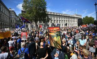 Des manifestants anti-Brexit se sont rassemblés à Londres, la capitale britannique, devant la résidence du Premier ministre au 10, Downing Street, en brandissant des drapeaux européens.
