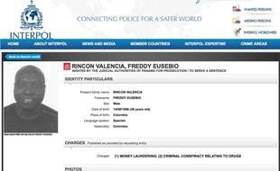 L'avis de recherche lancé par Interpol contre Freddy Rincon.