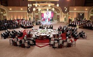 Les dirigeants des monarchies pétrolières au Conseil de coopération du Golfe (CCG) à Doha le 9 décembre 2014