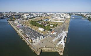 La pointe ouest de l'île de Nantes.