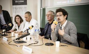 Pauline Dreyfus, Kamel Daoud, Gilles Martin-Chauffier et David Foenkinos rencontrent les lycéens du Goncourt, le 9 octobre 2014.