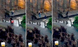 Captures d'écran de la vidéo d'une flaque d'eau de Newcastle (Angleterre), diffusée en direct le 6 janvier 2015 sur Periscope.