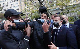Emmanuel Macron lors d'un déplacement le 19 avril 2021 à Montpellier