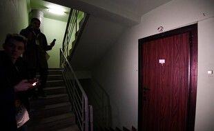 La porte de l'appartement d'Alexeï Navalny, perquisitionné ce mercredi.