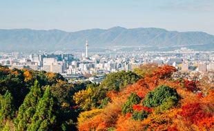 Vue sur la ville de Kyoto au Japon.