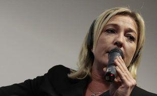 Marine Le Pen à Milan, le 21 octobre 2011, lors d'une table ronde organisée par le Mouvement pour l'Italie.