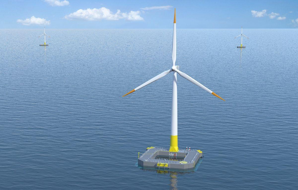 Image de synthèse d'une éolienne similaire au projet Floatgen. – Ideol