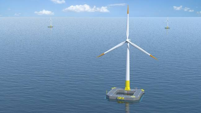 Image de synthèse d'une éolienne similaire au projet Floatgen.