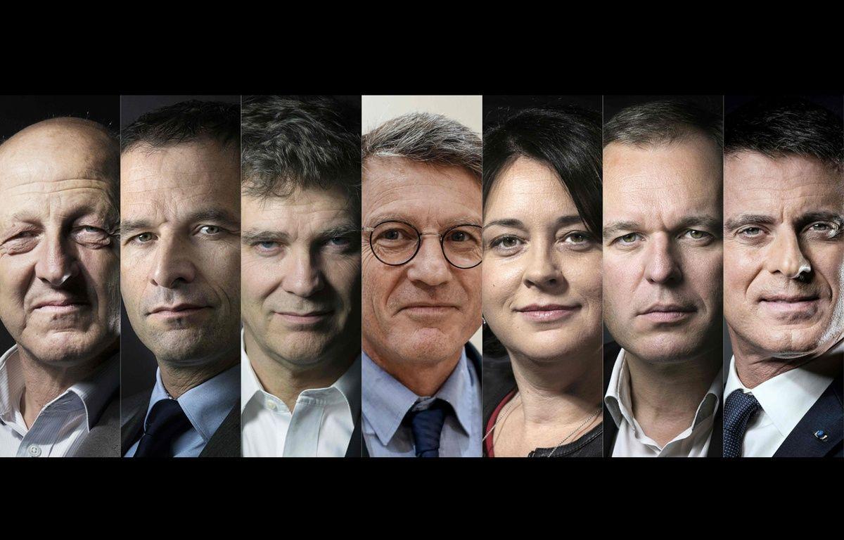 Les sept candidats à la primaire de la gauche : Jean-Luc Bennahmias, Benoît Hamon,  Arnaud Montebourg, Vincent Peillon, Sylvia Pinel, François de Rugy et Manuel Valls. – Joel Saget et Thomas Samson / AFP