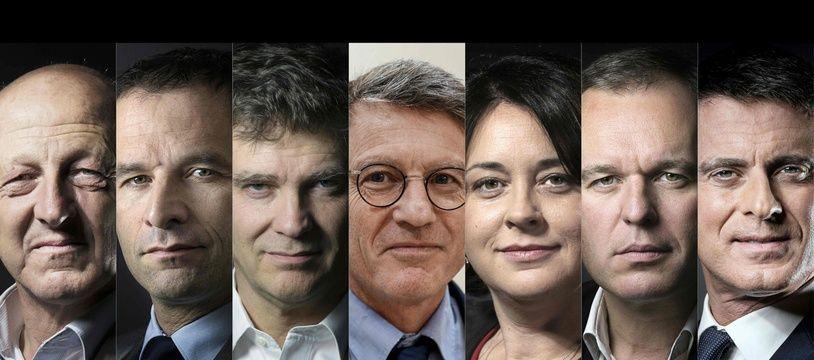 Les sept candidats à la primaire de la gauche : Jean-Luc Bennahmias, Benoît Hamon,  Arnaud Montebourg, Vincent Peillon, Sylvia Pinel, François de Rugy et Manuel Valls.