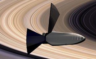 Vue d'artiste du concept de vaisseau interplanétaire de SpaceX, dévoilé le 27 septembre 2016.