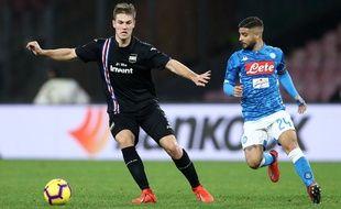 Joachim Andersen s'est confronté à des attaquants de très haut niveau la saison passée avec la Sampdoria, comme ici le Napolitain Lorenzo Insigne.