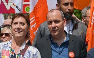 Laurent Berger lors d'un manifestation pour la défense de la fonction publique, le 22 mai 2018 à Paris.