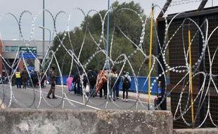 Des migrants patientent à la frontière entre la Croatie et la Hongrie, le 27 septembre 2015