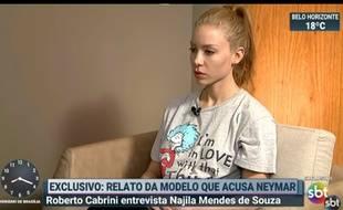 Najila Mendes de Souza, la Brésilienne qui accuse NEymar de viol, a raconté sa version des faits à la télévision, le 5 juin 2019.
