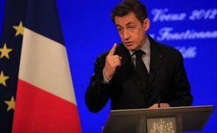 Nicolas Sarkozy lors de ses voeux aux fonctionnaires d'Etat à Lille, le 12 janvier 2012.