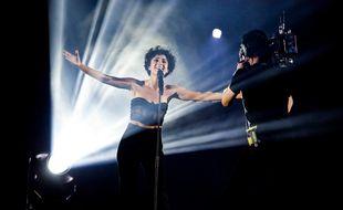 La chanteuse française Barbara Pravi lors de sa prestation en finale de l'Eurovision à Rotterdam (Pays-Bas), le 22 mai 2021.