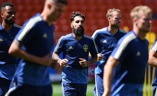coupe du monde 2018: Jimmy Durmaz avec l'équipe de Suède.