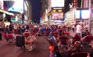 A Times Square (New York), après l'annonce de la mort de Michael Jacskon le 25 juin 2009.