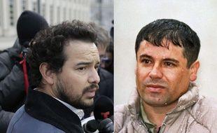 A gauche, l'acteur Alejandro Edda à New York, le 28 janvier 2018. A droite, le vrai «El Chapo» en 1993 après son arrestation au Mexique.