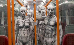 Des modèles maquillés en humanoïdes pour la promotion de la saison 1 de «Westworld» en 2016.