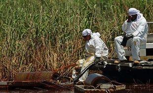 Des personnes s'affairent au nettoyage des côtes de Lousiane souillées par la marée noire, le 1erjuin 2010.