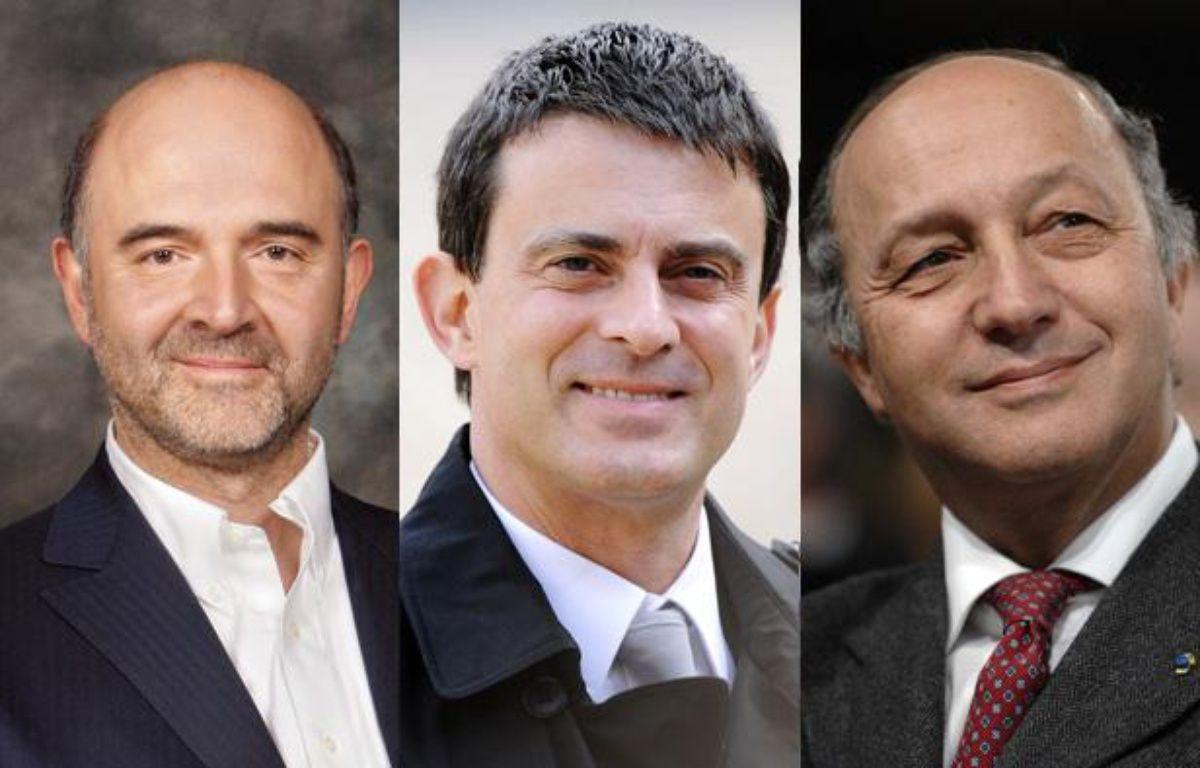 Pierre Moscovici, ministre de l'Economie, Manuel Valls, ministre de l'Intérieur et Laurent Fabius, ministre des Affaires étrangères. – AFP