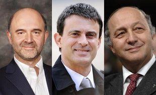 Pierre Moscovici, ministre de l'Economie, Manuel Valls, ministre de l'Intérieur et Laurent Fabius, ministre des Affaires étrangères.