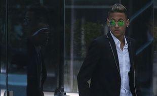 Neymar, à sa sortie du tribunal de Madrid où il était venu témoigner sur son transfert présumé frauduleux au Barça, le 2 février 2016.
