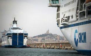 Des navires de la SNCM dans le port de Marseille dans le sud de la France, le 4 juillet 2014
