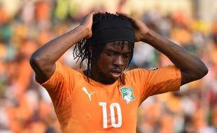 Gervinho lors du match entre la Côte d'Ivoire et la Guinée le 20 janvier 2015.