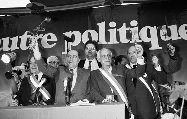 Francois Mitterrand, Georges Freche et des conseillers municipaux de la ville de Montpellier, le 1er mai 1981