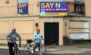 Un panneau pour le retrait du Royaume-Uni de l'Union européenne à Redcar (nord-est de l'Angleterre), le 27 juin 2017