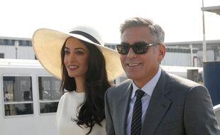 Amal Alamuddin et George Clooney à Venise le 29 septembre 2014.