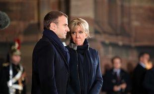 Emmanuel Macron devant la cathédrale de Strasbourg, le 4 novembre 2018.