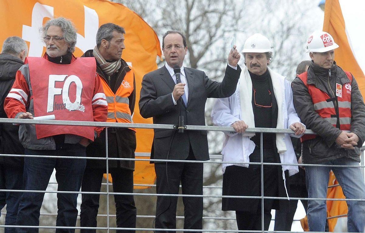François Hollande à Florange le 24 février 2012. –  POL EMILE/SIPA