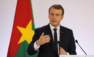 Emmanuel Macron lors de son déplacement au Burkina Faso
