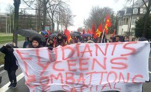 Manifestation contre réforme du Baccalauréat et de l'accès à l'université. Strasbourg le 01 février 2018.