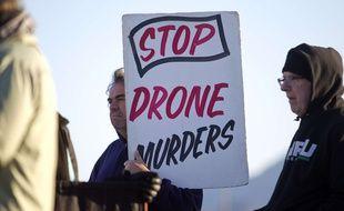 Une manifestation anti-drone près de Las Vegas (Etats-Unis), le 6 mars 2015.