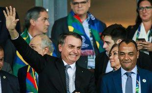 Jair Bolsonaro dans les tribunes du Maracana lors de Brésil-Argentine en demi-finale de la Copa América, le 2 juillet 2019.