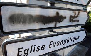 Béziers (Hérault), le 8 octobre 2015. Des tags islamophobes ont été découverts à proximité de la mosquée.