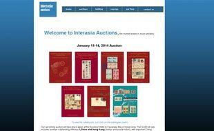 Capture d'écran du site de la maison de vente aux enchères Interasia, qui propose de rares timbres chinois à la vente.