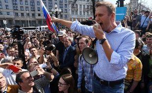 Alexeï Navalny lors d'une manifestation contre Vladimir Poutine le 5 mai 2018 à Moscou