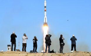 Décollage de la fusée Soyouz à Baïkonour, le 11 octobre 2018.
