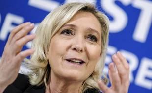 Marine Le Pen lors de son déplacement en Estonie.